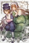 brown_eyes brown_hair dress green_dress green_eyes hat headwear heterochromia long_hair no.18 rozen_maiden short_hair souseiseki suiseiseki