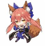 animal_ear_fluff animal_ears blue_kimono blue_legwear chibi comiket_94 fate/extella fate/extra fate/extra_ccc fate/grand_order fate_(series) fox_ears fox_girl fox_tail gabiran japanese_clothes kimono lowres pink_hair tail tamamo_(fate)_(all) tamamo_cat_(fate) tamamo_no_mae_(fate)