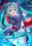 1girl :d aqua_eyes back_bow bangs black_jacket blue_neckwear blush bow bowtie breasts commentary_request company_name cowboy_shot dress eyebrows_visible_through_hair gloves hand_up hat hatsune_miku heart highres holding holding_syringe jacket long_hair long_sleeves looking_at_viewer matsuuni necktie nurse nurse_cap official_art open_clothes open_jacket open_mouth oversized_object pleated_dress red_bow red_cross sky small_breasts smile solo star_(sky) starry_sky stethoscope syringe twintails very_long_hair vocaloid white_dress white_gloves