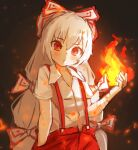 1girl :o bandaged_arm bandages bangs black_background blush bow collared_shirt commentary_request eyebrows_visible_through_hair fire flat_chest fujiwara_no_mokou gradient gradient_background hair_between_eyes hair_bow hand_in_pocket head_tilt long_hair looking_at_viewer pants parted_lips pyrokinesis red_eyes red_pants shirt short_sleeves simple_background solarisu solo standing suspenders symbol_commentary touhou upper_body very_long_hair white_hair white_shirt
