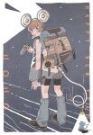 1girl 2020 binoculars black_footwear black_shorts blue_eyes blush bright_pupils brown_hair chinese_zodiac from_behind full_body happy_new_year highres junngoro light looking_at_viewer mouse mouth_hold new_year original see-through_sleeves shoes short_hair shorts solo standing white_pupils year_of_the_rat