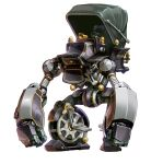 canopy clenched_hands mecha no_humans original solo standing steampunk steering_wheel taedu wheel white_background