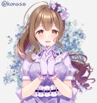 1girl ahoge bow brown_eyes brown_hair commentary_request dress flower frilled_gloves frills gloves hair_bow hair_flower hair_ornament hands_clasped highres idolmaster idolmaster_shiny_colors interlocked_fingers konase_(non_stop!) kuwayama_chiyuki long_hair looking_at_viewer own_hands_together polka_dot polka_dot_dress polka_dot_gloves ponytail puffy_short_sleeves puffy_sleeves purple_bow purple_dress purple_gloves ringlets short_sleeves solo upper_body