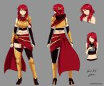 1girl alternate_hairstyle armor bare_shoulders breastplate choker circlet closed_eyes english_commentary full_body green_eyes grey_background high_heels looking_at_viewer medium_hair midriff multiple_views navel pyrrha_nikos redhead rwby simple_background sleeveless standing thigh-highs yaya_(y8ay8a)