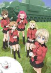 5girls assam_(girls_und_panzer) bangs black_footwear black_ribbon black_skirt blonde_hair blue_eyes blue_sky boots bow braid brown_eyes brown_hair chair churchill_(tank) clear_sky closed_mouth commentary_request cup darjeeling_(girls_und_panzer) day drinking epaulettes eyebrows_visible_through_hair girls_und_panzer grass ground_vehicle hair_bow hair_over_shoulder hair_pulled_back hair_ribbon hand_on_hip holding holding_cup holding_saucer jacket knee_boots long_hair long_sleeves looking_at_viewer medium_hair military military_uniform military_vehicle miniskirt motor_vehicle muichimon multiple_girls one_eye_closed open_mouth orange_hair orange_pekoe_(girls_und_panzer) outdoors parted_bangs partial_commentary pleated_skirt red_bow red_eyes red_jacket redhead ribbon rosehip_(girls_und_panzer) rukuriri_(girls_und_panzer) saucer short_hair single_braid sitting skirt sky smile st._gloriana's_military_uniform standing table tank tea teacup teapot tied_hair twin_braids uniform