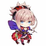 black_legwear blue_eyes blue_kimono chibi clothing_cutout comiket_95 detached_sleeves dual_wielding earrings fate/grand_order fate_(series) gabiran hair_ornament holding japanese_clothes jewelry katana kimono leaf_print lowres maple_leaf_print miyamoto_musashi_(fate/grand_order) navel_cutout obi pink_hair ponytail sandals sash sheath sheathed sleeveless sleeveless_kimono sword thigh-highs weapon wide_sleeves