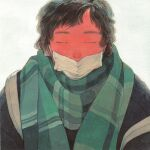 1girl androgynous bangs black_hair closed_eyes green_scarf highres kan0nakan0 mask mouth_mask original plaid plaid_scarf scarf short_hair simple_background solo surgical_mask upper_body white_background