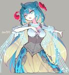 1girl :o blue_eyes blue_hair breasts commentary_request gen_1_pokemon gigantamax gigantamax_lapras grey_background highres horns jewelry lapras looking_at_viewer medium_breasts medium_hair necklace personification pokemon pokemon_(game) pokemon_swsh sakutake_(ue3sayu) see-through shawl simple_background single_horn solo