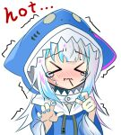 >_< ... 1girl animal_hood bangs blue_hair blue_hoodie blue_nails blush chibi closed_eyes drawstring eating english_text eyebrows_visible_through_hair facing_viewer food_in_mouth furrowed_eyebrows gawr_gura hands_up hololive hololive_english hood hood_up hoodie long_hair long_sleeves multicolored_hair nail_polish nose_blush pink_hair sho_(runatic_moon) sidelocks simple_background sketch solo spicy streaked_hair sweatdrop tears trembling upper_body virtual_youtuber wavy_mouth white_background white_hair