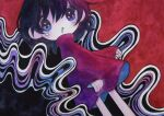 1girl abstract_background black_hair blue_eyes drooling feet_out_of_frame hair_between_eyes long_sleeves looking_at_viewer original red_shirt shirt short_hair solo tears zukky000