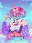 1girl absurdres bandaid bandaid_on_nose bangs blue_eyes blue_hair breast_strap breasts clouds gradient_hair gun hand_on_own_chest handgun headset highres holster holstered_weapon horns mechanical_horns mika_vas multicolored_hair obi off-shoulder_jacket open_hand original petals pink_hair pistol sash science_fiction short_hair sky small_breasts solo star_(sky) starry_sky symbol_commentary symbol_in_eye weapon wind