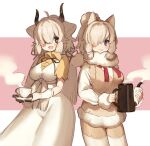 2girls alpaca_ears alpaca_girl alpaca_suri_(kemono_friends) animal_ears beige_shorts beige_vest blue_eyes bow brown_eyes brown_gloves brown_neckwear collared_shirt commentary_request cowboy_shot cup dress eyebrows_visible_through_hair fur_collar fur_trim gloves hair_bow hair_bun hair_over_one_eye hair_tubes highres kemono_friends long_dress long_hair long_sleeves multiple_girls neck_ribbon noamem ox_ears ox_girl ox_horns pantyhose red_neckwear ribbon shirt short_hair short_sleeves steam sweater teacup teapot white_dress white_fur white_gloves white_hair white_legwear white_sweater yak_(kemono_friends) yellow_shirt