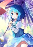 1girl :d bangs blue_eyes blue_hair blue_skirt blue_vest blurry blush commentary_request contrapposto cowboy_shot depth_of_field eyebrows_visible_through_hair falling_petals flower geta hanging_plant heterochromia highres holding holding_umbrella juliet_sleeves karakasa_obake long_sleeves looking_at_viewer open_mouth petals pink_flower puffy_sleeves rain red_eyes shiny shiny_hair shirt short_hair skirt smile socks solo standing tatara_kogasa thighs touhou umbrella vest water_drop white_shirt yuujin_(yuzinn333)