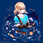 1boy artist_name belt blonde_hair blue_eyes blue_shirt clouds constellation crescent_moon dated earrings fingerless_gloves gloves handheld_game_console holding holding_handheld_game_console jewelry link long_sleeves meyoco_(style) moon nintendo_switch planet planetary_ring pointy_ears rock shirt short_over_long_sleeves short_sleeves solo sparkle the_legend_of_zelda the_legend_of_zelda:_breath_of_the_wild touminnn upper_body