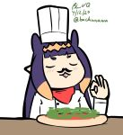 1girl bachunawa bangs blush chef_hat chef_uniform chibi closed_eyes cooking_simulator fake_facial_hair fake_mustache fang food hat highres hololive hololive_english long_hair ninomae_ina'nis ok_sign open_mouth pizza pointy_ears red_scarf scarf short_bangs v-shaped_eyebrows virtual_youtuber white_background white_headwear