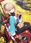 1girl :o black_scarf blonde_hair cat commentary_request cup eyebrows_visible_through_hair fate/grand_order fate_(series) food gabiran holding holding_food japanese_clothes kimono leaf long_sleeves looking_at_viewer okita_souji_(fate) okita_souji_(fate)_(all) open_mouth scarf short_hair sitting solo tea yellow_eyes