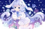 1girl angora_rabbit animal animal_ears bangs blue_bow blue_eyes blue_hair bow box capelet chestnut_mouth christmas_lights christmas_tree commentary_request dress eyebrows_visible_through_hair fake_animal_ears fur-trimmed_capelet fur-trimmed_dress fur_trim gift gift_box gochuumon_wa_usagi_desu_ka? holding holding_animal kafuu_chino knees_together_feet_apart long_hair looking_at_viewer low_twintails no_shoes parted_lips rabbit rabbit_ears snowflakes thigh-highs tippy_(gochiusa) tsukimi_(xiaohuasan) twintails very_long_hair white_capelet white_dress white_legwear