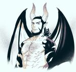 1boy abs bare_pecs beard black_hair chest_hair collarbone cropped_torso demon_boy demon_horns demon_wings facial_hair foxvulpine golden_kamuy horns incubus kiroranke limited_palette looking_at_viewer male_focus muscle nipples pectorals pointy_ears red_eyes revealing_clothes solo spot_color wings
