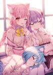3girls :d a20_(atsumaru) ahoge animal_ear_fluff blue_hair blue_skirt blush bob_cut bobby_pin borrowed_character bow bowtie braid braided_ponytail breasts brown_eyes brown_skirt closed_eyes crossed_arms eyebrows_visible_through_hair fang finger_to_mouth flat_chest hair_between_eyes highres horns lap_pillow large_breasts leaning_on_person long_hair long_sleeves lying multiple_girls on_side one_eye_closed open_mouth original pantyhose pink_hair pink_skirt purple_hair shirt short_hair shushing sidelocks sitting skirt sleeping smile suspender_skirt suspenders t-shirt uniform wardrobe_malfunction white_legwear yellow_bow
