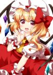 1girl ascot bangs blonde_hair bow collared_shirt crystal eyebrows_visible_through_hair flandre_scarlet hair_bow hat hat_ribbon highres looking_at_viewer medium_hair mob_cap open_mouth puffy_short_sleeves puffy_sleeves red_bow red_eyes red_ribbon red_skirt red_vest ribbon ruu_(tksymkw) shirt short_sleeves side_ponytail simple_background skirt skirt_set smile solo standing touhou vest white_background white_headwear wings wrist_cuffs yellow_neckwear