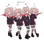 4girls ahoge bag black_footwear blush brown_hair clone closed_eyes eyebrows_visible_through_hair hands_on_hips long_sleeves looking_at_viewer makaino_ririmu multiple_girls nijisanji pointy_ears red_eyes red_wings shimada71_72 shoulder_bag simple_background standing striped striped_legwear symbol_commentary thigh-highs twintails white_background wings zettai_ryouiki