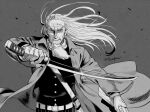 1boy beard belt coat facial_hair fighting_stance foxvulpine golden_kamuy greyscale hijikata_toshizou_(golden_kamuy) holding holding_sword holding_weapon katana long_hair male_focus monochrome old_man open_clothes open_coat scar scar_on_face simple_background solo sword upper_body weapon wind wind_lift wrinkles