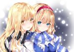 2girls :p adapted_costume alice_margatroid blonde_hair blue_dress blue_eyes blush breasts closed_mouth commentary_request dress eyebrows_visible_through_hair eyes_visible_through_hair gradient gradient_background hair_between_eyes hairband hug kirisame_marisa long_hair looking_at_viewer medium_breasts multiple_girls nanase_nao no_hat no_headwear red_hairband scarf short_hair simple_background smile snowing striped striped_scarf tongue tongue_out touhou upper_body white_sleeves winter_clothes yellow_eyes yuri