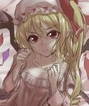 1girl :t akane_hazuki bed bed_sheet blonde_hair bow closed_mouth collarbone crystal drill_hair eyebrows_visible_through_hair eyelashes flandre_scarlet flat_chest frills hair_between_eyes hat hat_bow long_sleeves looking_at_viewer medium_hair mob_cap nightgown one_side_up pointy_ears pout red_bow red_eyes shadow sidelocks solo touhou upper_body v-shaped_eyebrows white_headwear wings
