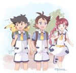 1girl 2boys :d alternate_costume antenna_hair arrow_(symbol) artist_name ash_ketchum backpack bag bangs black_hair blue_eyes braid braided_ponytail brown_bag brown_eyes brown_hair chloe_(pokemon) commentary_request dress eyelashes gen_1_pokemon goh_(pokemon) green_bag green_eyes hair_ornament highres holding_strap knees long_hair looking_to_the_side mei_(maysroom) multiple_boys open_mouth pikachu pokemon pokemon_(anime) pokemon_(creature) pokemon_swsh_(anime) redhead short_hair short_sleeves shorts smile standing teeth tongue translation_request watermark white_dress