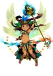 1girl ankh arm_up armlet armpits bangs black_hair blue_eyes dark_skin dark_skinned_female earrings egyptian egyptian_clothes eyebrows_visible_through_hair feathers fire floating_hair full_body gold gold_earrings gold_trim hair_feathers headdress highres himukai_yuuji holding holding_staff ings jewelry long_hair looking_at_viewer navel necklace open_mouth simple_background solo staff upper_teeth white_background wrist_cuffs
