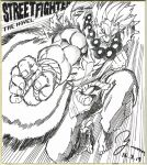 1boy absurdres barefoot beads blank_eyes clenched_hand clenched_teeth copyright_name dated fingernails gouki greyscale highres jewelry jumping male_focus monochrome murata_yuusuke muscle necklace palm_strike prayer_beads sash scan signature solo speed_lines street_fighter street_fighter_the_novel teeth toenails traditional_media