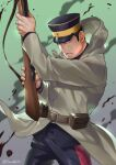 1boy arisaka belt black_eyes black_hair blood blood_splatter blue_jacket blue_pants bolt_action brown_belt buzz_cut collared_jacket fighting_stance foxvulpine golden_kamuy gun hat holding holding_weapon imperial_japanese_army jacket kepi long_sleeves male_focus military military_hat military_uniform pants rifle short_hair simple_background solo tsukishima_hajime uniform very_short_hair weapon