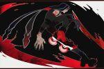 1boy alternate_costume bodypaint cu_chulainn_(fate)_(all) cu_chulainn_alter_(fate/grand_order) dark_persona detached_hood detached_sleeves fate/grand_order fate_(series) from_side full_body hood hood_up inline_skates male_focus nail_polish roller_skates shirakichi skates solo type-moon