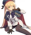 1girl artoria_pendragon_(all) artoria_pendragon_(caster) bangs beret black_gloves blonde_hair blue_cape blue_headwear blush brown_legwear candy cape chocolate chocolate_bar closed_mouth commentary_request dress eyebrows_visible_through_hair fate/grand_order fate_(series) food gloves green_eyes hair_between_eyes hat holding holding_food kildir long_sleeves looking_at_viewer pantyhose pleated_dress puffy_long_sleeves puffy_sleeves red_cape shadow smile solo twintails white_background white_dress