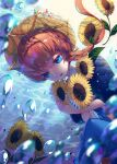 1girl air_bubble bangs blue_eyes braid brown_hair bubble crown_braid fate/grand_order fate_(series) flower hat highres long_hair raymond_busujima side_braid single_braid solo submerged sunflower underwater van_gogh_(fate) yellow_headwear