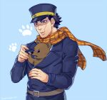 1boy animal animal_in_clothes bear black_hair blue_jacket brown_eyes brown_fur buttons fingernails foxvulpine golden_kamuy hat imperial_japanese_army jacket kepi lips long_sleeves male_focus military military_hat military_uniform paws scar scar_on_cheek scar_on_face scar_on_mouth scar_on_nose scarf sharp_fingernails short_hair simple_background solo sugimoto_saichi uniform upper_body yellow_scarf