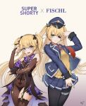 2girls alternate_costume ark_john_up bangs black_eyepatch black_nails black_ribbon blonde_hair blue_eyes blue_jacket blue_skirt blush commentary_request cosplay cowboy_shot fischl_(genshin_impact) fischl_(genshin_impact)_(cosplay) genshin_impact girls_frontline gradient gradient_background grey_background hair_ribbon hat height_difference jacket long_hair multiple_girls necktie open_clothes open_jacket open_mouth pleated_skirt red_neckwear ribbon skirt smile super_shorty_(girls_frontline) super_shorty_(girls_frontline)_(cosplay) two_side_up
