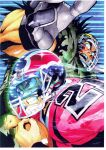 2boys black_eyes black_hair border character_request clenched_teeth eyeshield_21 facepaint football football_(object) football_helmet football_uniform from_side gloves helmet highres holding kobayakawa_sena male_focus multiple_boys murata_yuusuke official_art sanpaku scan shoulder_pads sportswear sweat teeth traditional_media white_border wide-eyed