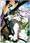 1girl 2boys :d absurdres bandaid bandaid_on_nose black_hair blue_pants border brown_hair chain character_request cherry_blossoms climbing_tree closed_mouth day denim everyone eyeshield_21 flower from_above hair_between_eyes highres jacket japan jeans long_sleeves mount_fuji multiple_boys murata_yuusuke official_art open_mouth outdoors pants people pink_flower sanpaku scan shoes smile sneakers spiky_hair tree white_border