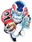 2boys ball clenched_hand eyeshield_21 football football_(object) football_helmet football_uniform gloves helmet highres holding holding_ball kobayakawa_sena looking_at_viewer multiple_boys murata_yuusuke official_art open_mouth reaching_out running scan shoulder_pads simple_background sportswear sweat traditional_media white_background