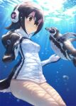 1girl absurdres air_bubble animal bird bird_tail black_hair blue_eyes blush breasts brown_eyes bubble closed_mouth cowboy_shot day eye_contact grape-kun guchico hair_between_eyes headphones highres hood hood_down hooded_jacket humboldt_penguin humboldt_penguin_(kemono_friends) jacket kemono_friends light_rays long_sleeves looking_at_another multicolored_hair outdoors penguin photoshop_(medium) pink_hair short_hair small_breasts smile streaked_hair submerged sunbeam sunlight tail tareme thighs underwater water white_hair white_jacket zipper