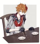 1boy armor bangs beans black_gloves blue_eyes chair chopsticks closed_mouth dated eyebrows_visible_through_hair genshin_impact gloves hair_between_eyes highres holding holding_chopsticks jacket male_focus mask mask_on_head minatsuki_(lapislazzuli169) orange_hair plate red_scarf scarf shoulder_armor simple_background sitting solo sweat table tartaglia_(genshin_impact) trembling twitter_username two-tone_background