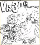 2boys :d anniversary bald belt bodysuit cape fighting_stance genos greyscale highres looking_at_viewer monochrome multiple_boys murata_yuusuke official_art one-punch_man open_mouth parted_lips punching saitama_(one-punch_man) scan short_hair signature smile traditional_media