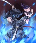 1boy 1girl absurdres amputee bandaged_arm bandaged_leg bandages bare_shoulders barefoot black_hair black_kimono blade blue_fire closed_mouth dororo_(character) dororo_(tezuka) fire highres holding holding_sword holding_weapon hyakkimaru_(dororo) japanese_clothes katana kimono long_hair looking_at_another open_mouth patterned patterned_clothing ponytail purple_hair red_eyes scabbard sheath signature sword teeth tongue torn torn_clothes toshi_punk twitter_username weapon