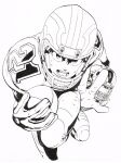 2boys ball clenched_hand eyeshield_21 football football_(object) football_helmet football_uniform gloves greyscale helmet highres holding holding_ball kobayakawa_sena looking_at_viewer monochrome multiple_boys murata_yuusuke official_art open_mouth reaching_out running scan shoulder_pads simple_background sportswear sweat traditional_media white_background