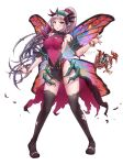 1girl armpit_crease bangs black_legwear blush bracelet breasts butterfly_wings covered_navel detached_sleeves dress elf english_commentary eyebrows_visible_through_hair facial_mark fairy fire_emblem fire_emblem_heroes forehead_mark groin hairband highres injury jewelry keipup knees_together_feet_apart large_breasts leotard long_hair looking_at_viewer necklace parted_bangs pelvic_curtain plant plumeria_(fire_emblem) pointy_ears ponytail red_eyes sideboob sidelocks silver_hair simple_background solo taut_clothes taut_dress thigh-highs thighs thorns torn_clothes twitter_username vines white_background wings