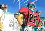 4boys aircraft airplane bandaid bandaid_on_nose blonde_hair blue_sky character_request condensation_trail day eyeshield_21 fighter_jet football football_helmet football_uniform gloves grin hand_on_hip helmet highres jet kobayakawa_sena military military_vehicle multiple_boys murata_yuusuke official_art open_mouth outdoors pants people red_shirt shirt shoulder_pads sky smile sportswear stadium standing white_gloves white_pants