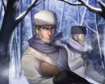 2boys beard black_gloves blue_eyes breath brown_hair coat expressionless facial_hair fighting_stance foxvulpine gloves golden_kamuy gun male_focus multiple_boys purple_scarf rifle scarf serious simple_background sniper_rifle snow tree_branch upper_body vasily_(golden_kamuy) weapon white_coat winter_clothes