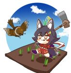 1girl absurdres animal_ear_fluff animal_ears bird black_hair blush chibi cosplay eyebrows_visible_through_hair highres hoe holding hololive horns japanese_clothes kani_bonara long_hair ookami_mio over_shoulder rice_paddy running sakuna-hime sakuna-hime_(cosplay) short_eyebrows single_horn sparkling_eyes tail tensui_no_sakuna-hime tongue tongue_out v-shaped_eyebrows virtual_youtuber wolf_ears wolf_girl wolf_tail