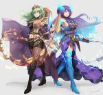 2girls absurdres breasts brighid_(xenoblade) byleth_(fire_emblem) byleth_(fire_emblem)_(female) chain crossover fire fire_emblem fire_emblem:_three_houses gonzarez green_eyes green_hair highres large_breasts multiple_girls navel purple_hair simple_background sword weapon weapon_connection xenoblade_chronicles_(series) xenoblade_chronicles_2